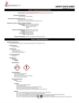 Marble Polish Paste Safety Data Sheet