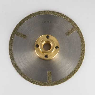 Diamond electroplated blade with spokes and flange